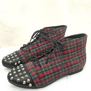 Diva Lounge Tartan Plaid Punk Rock Studded Spiked Red Ankle Boots